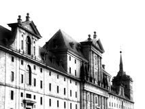 Escorial Monastery fachade. Escorial Monastery west fachade black and white Stock Image