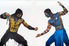 Escorpião CONTRA a arte corporal do sub zero Fotos de Stock Royalty Free