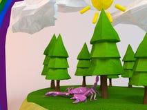 escorpião 3d dentro de uma cena verde baixo-poli Imagem de Stock