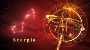 Escorpião da esfera Armillary e da constelação sobre o fundo vermelho ilustração do vetor