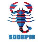 escorpión Vector el horóscopo, muestra plana poligonal del zodiaco, muestra astrológica Fotografía de archivo libre de regalías