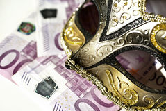 Escort agency. Mask and five hundred euro bills, escort agency service concept stock photography