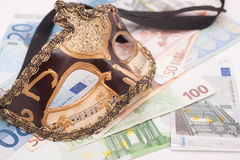Escort agency. Mask and four hundred euro bills, escort agency service concept royalty free stock photo