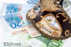 Escort agency. Mask and hundred euro bills, escort agency service concept stock photo