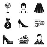 Escort icons set, simple style. Escort icons set. Simple set of 9 escort vector icons for web isolated on white background Royalty Free Stock Photo