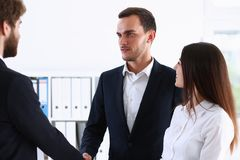 Escort service interpreter works with the Royalty Free Stock Image