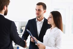 Escort service interpreter works with transaction. Escort service interpreter works with the transaction accompanies documents conclusion of the contract Royalty Free Stock Images