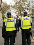 Escorte policière - protestation march - Londres Images libres de droits