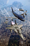 Escorted plane. 747 Boeing escorted by several fighters F15 over Manhattan Royalty Free Stock Images