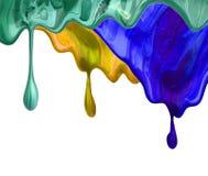 A escova azul vermelha do grunge da foto afaga a pintura de óleo isolada no fundo branco imagem de stock royalty free