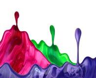 A escova azul vermelha do grunge da foto afaga a pintura de óleo isolada no fundo branco fotografia de stock