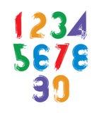 A escova caligráfica numera, numeratio brilhante pintado à mão do vetor Imagens de Stock Royalty Free