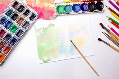 Escova com aquarela Imagens de Stock