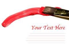 Escova com espaço vermelho do acrílico e da cópia Fotografia de Stock