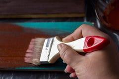 Escova com pintura à disposição Um homem pinta placas azuis em uma escova de pintura marrom Fotografia de Stock Royalty Free