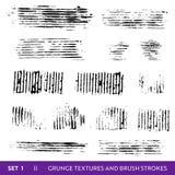 A escova da tinta afaga a coleção do Grunge Grupo de elementos sujo do projeto Pinte chapinha, linhas sujas a mão livre ilustração royalty free