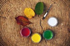 A escova das folhas pinta círculos de madeira imagem de stock royalty free