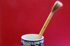 Escova de bambu da tinta Fotos de Stock