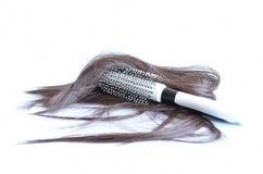 Escova de cabelo com cabelo Fotografia de Stock Royalty Free