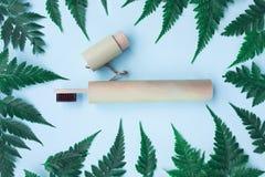 Escova de dentes de bambu de Eco na tampa de bambu fotos de stock