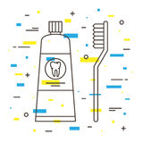 Escova de dentes dental com ilustração linear do vetor do tubo de dentífrico Fotografia de Stock Royalty Free