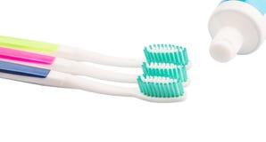 Escova de dentes e dentífrico II Foto de Stock Royalty Free