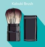 Escova de Kabuki no flet do estilo Fotografia de Stock Royalty Free