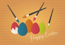 Escova de pintura com ovos coloridos Imagem de Stock