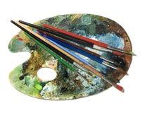 Escova de pintura com paleta Fotos de Stock