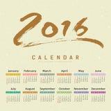 Escova de pintura do texto do calendário 2016 ilustração do vetor