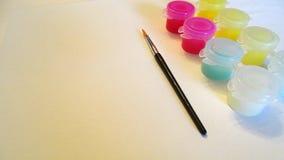 Escova de pintura e grupo da pintura Fotos de Stock Royalty Free