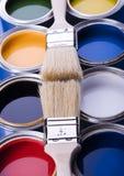 Escova de pintura e pintura foto de stock royalty free