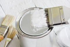 A escova de pintura e pode Foto de Stock
