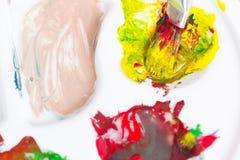 Escova de pintura, paleta e paitings Fotografia de Stock