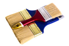 Escova de pintura três que encontra-se em um fundo branco Imagem de Stock Royalty Free