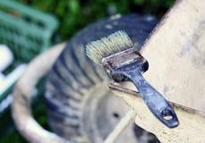 Escova de pintura velha Fotos de Stock