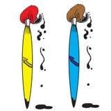 Escova do azul e do amarelo Fotos de Stock Royalty Free