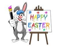 A escova do pintor do coelho ou do coelho e a lona feliz de easter da paleta são Fotos de Stock Royalty Free