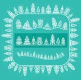 Escova do teste padrão com árvores do inverno Foto de Stock