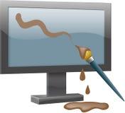 Escova e computador de pintura Fotografia de Stock Royalty Free