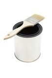 Escova e cubeta de pintura Foto de Stock Royalty Free
