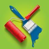 Escova e rolo de pintura Imagem de Stock