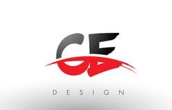 Escova Logo Letters do CE C E com parte dianteira vermelha e preta da escova do Swoosh Fotos de Stock Royalty Free