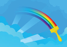 A escova pinta o arco-íris no céu Imagens de Stock Royalty Free