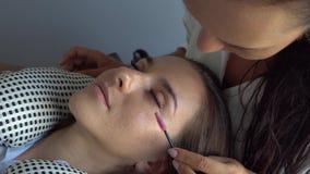 A escova profissional do mestre do chicote modela as pestanas Extensão da pestana no estúdio da beleza video estoque