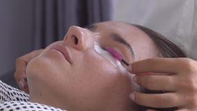 A escova profissional do mestre do chicote modela as pestanas Preparação antes da extensão da pestana no estúdio da beleza video estoque