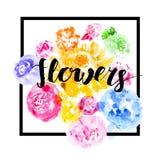 Escova que rotula o cartão floral artístico Foto de Stock