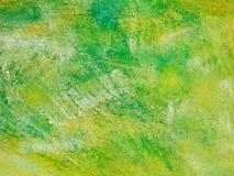 Escova verde & amarela textura pintada artística Fotografia de Stock Royalty Free