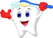 Escovadela feliz dos desenhos animados do dente Fotos de Stock Royalty Free