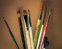 Escovas artísticas Foto de Stock